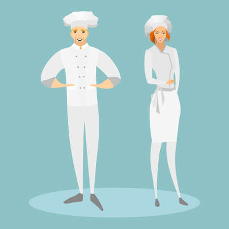 busyness: Cooks in special suits. A woman and a man cook cook. Vector illustration. Illustration