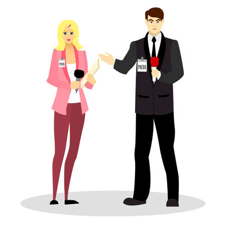 Journalists and correspondents with a microphone in their hands and in business suits. Occupation journalist or correspondent. Vector illustration. Illustration
