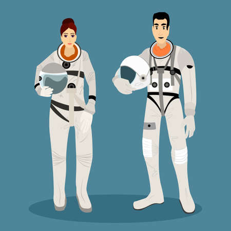 busyness: The astronauts in space suits with helmets in hands. Cosmonaut profession. Vector illustration. Illustration