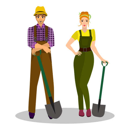 busyness: Farmers with a shovel in their hands and working clothes. Occupation farmer. Vector illustration. Illustration