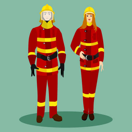 busyness: Firefighters in special red suits with helmets. Man and woman with the profession of firefighters. Vector illustration.