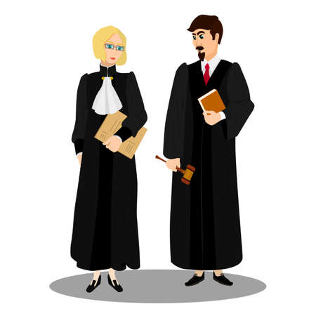 busyness: Judges in professional robes with judicial gavel. Vector illustration.