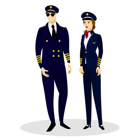 busyness: Pilots of aircraft in professional costumes. Vector illustration