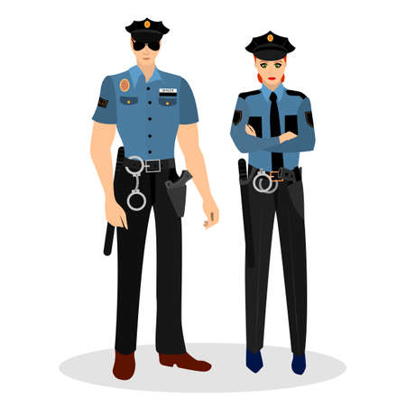 handcuffs female: Police man and woman in suits and with the police badges. Occupation police. Vector illustration. Illustration