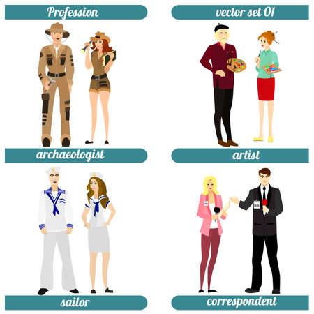 occupations: Set of four human occupations. Vector illustration.