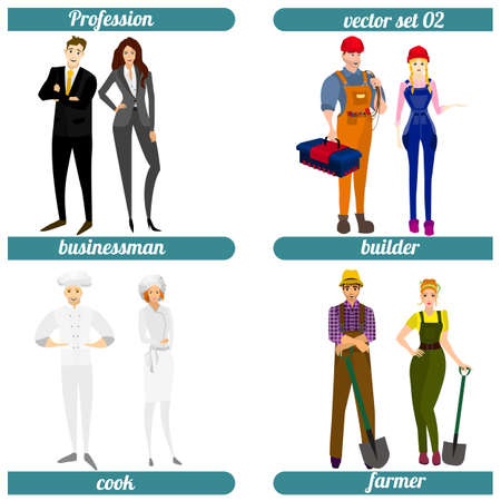 busyness: Set of four human occupations. Vector illustration.