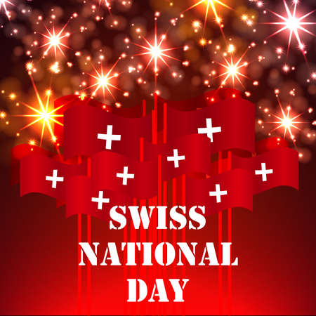 swiss: Greeting card for Swiss Independence Day. Swiss National Day August 1st. Fireworks in honor of Swiss independence. The flags of Switzerland with a white cross. Vector illustration.