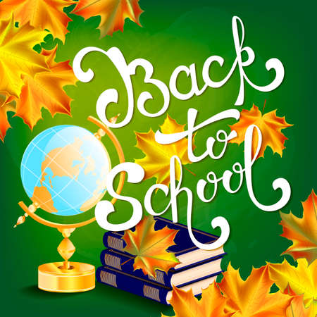 semester: Welcome back to school background, with hand drawn lettering, elements and autumn leaves. Vector illustration.