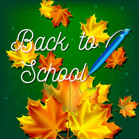 Welcome back to school background, with hand drawn lettering, elements and autumn leaves. Vector illustration.