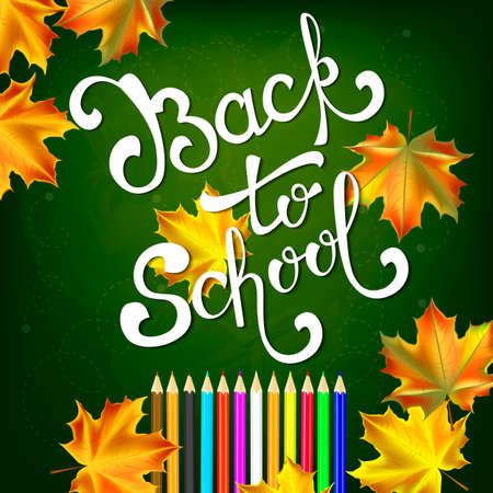Welcome back to school background, with hand drawn lettering and autumn leaves. Vector illustration.
