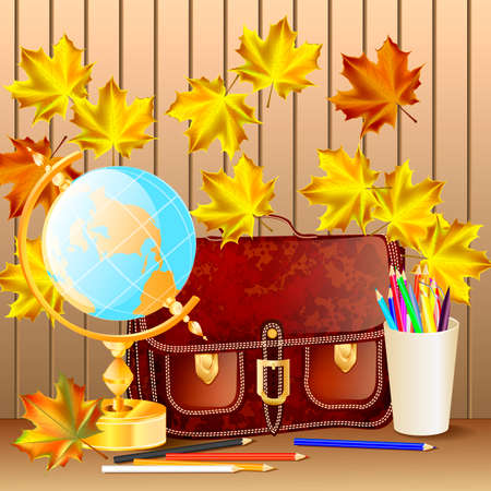 schoolbag: Welcome back to school background, with globe, schoolbag and autumn leaves.