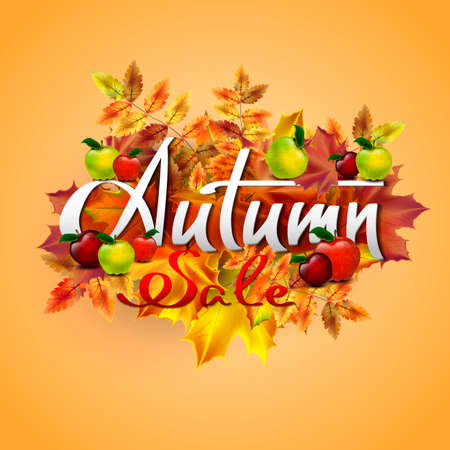Autumn vector background with autumn leaves and red and green apples. Autumn sale. Hand-written lettering. Typography Illustration