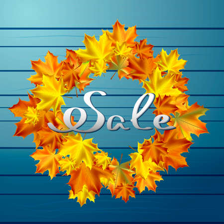 Autumn vector background. Round frame of autumn leaves on a background of blue boards. Hand-written lettering. Typography. Autumn sale. Illustration