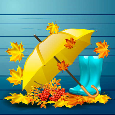 Autumn vector background with autumn leaves and yellow umbrella, rubber boots. Illustration
