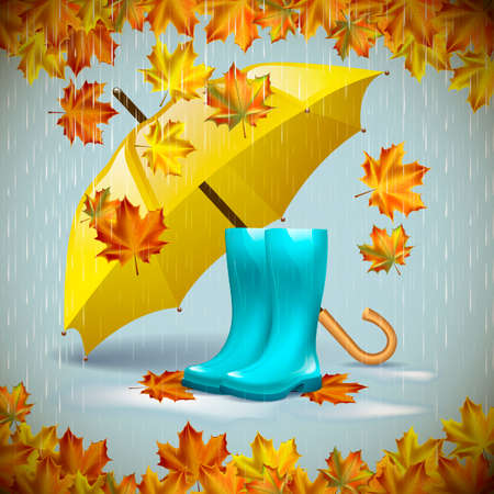 Autumn vector background with autumn leaves, yellow umbrella and rubber boots under the rain.