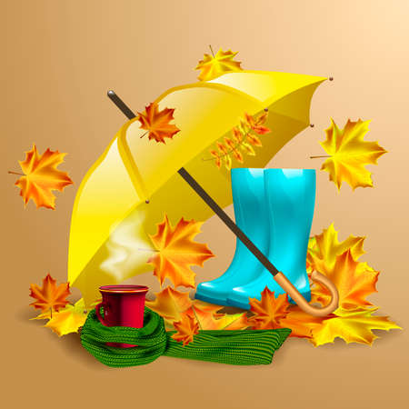 Autumn vector background with autumn leaves, yellow umbrella, blue rubber boots and cup of hot coffee or tea in the knitted green scarf. Illustration