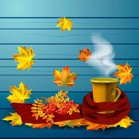 steam of a leaf: Autumn vector background with autumn leaves and cup of hot coffee or tea in the knitted red scarf.