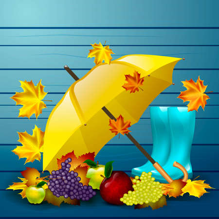 gumboots: Autumn vector background with leaves, yellow umbrella, blue rubber boots and autumn fruits.