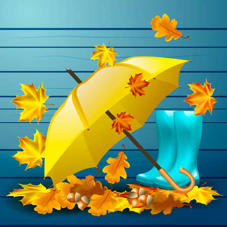 yellow umbrella: Autumn vector background with leaves, yellow umbrella, blue rubber boots and acorns with oak leaves.