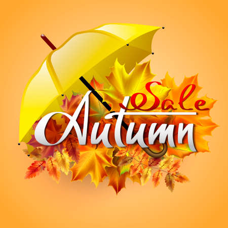 yellow umbrella: Autumn vector background with autumn leaves and yellow umbrella. Sale. Hand-written lettering. Typography. Illustration