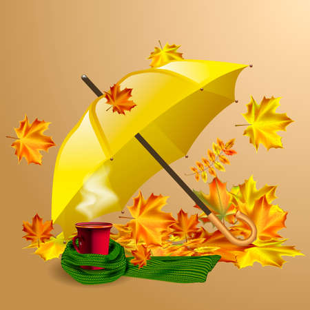 yellow umbrella: Autumn vector background with autumn leaves, yellow umbrella and cup of hot coffee or tea in the knitted green scarf.