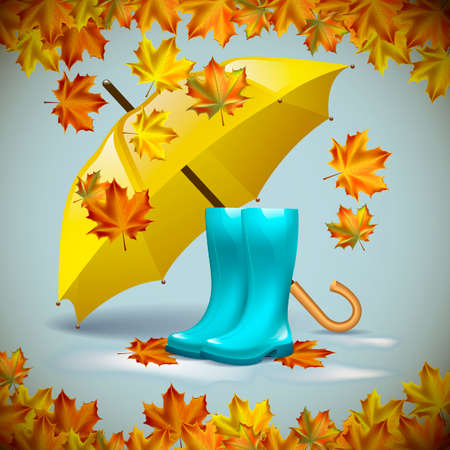 yellow umbrella: Autumn vector background with autumn leaves with yellow umbrella and rubber boots. Illustration