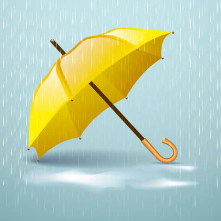 yellow umbrella: Autumn vector background with yellow umbrella in the rain and autumn puddles
