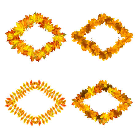 Vector set of autumn leaves rhombus frames. Collection of fall themed rhombus shaped frames with design elements featuring leaves, rowan, oaks