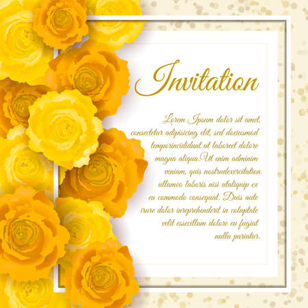 beautiful rose: Vintage floral invitation template with hand drawn flowers and border. Illustration in retro style.