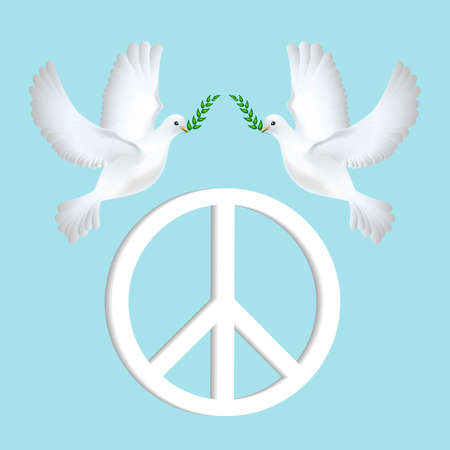 peace day: Peace dove with olive branch for International Peace Day poster.