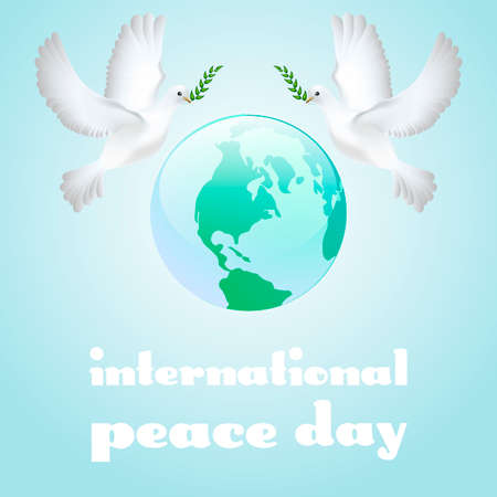 peace day: Peace dove with olive branch for International Peace Day poster. Vector illustration.