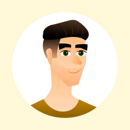 handsome male: Nice young man and his avatar. Handsome male character. Vector illustration.