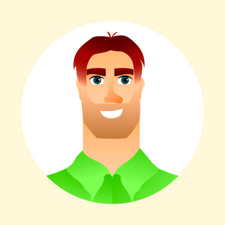 Nice young man and his avatar. Handsome male character. Vector illustration.