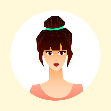 Cute young girl and her avatars. Beautiful female character. Vector illustration.