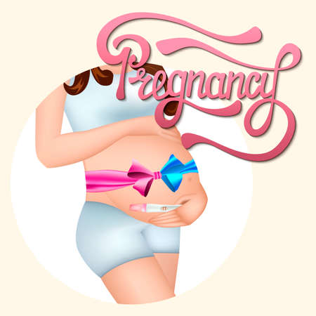 Pregnant woman with a bow on her tummy and test in the hands. Hand drawn lettering of pregnancy. Vector illustration.
