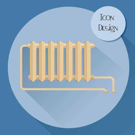 cast iron: Cast iron heating radiator. Design icons in flat style. Vector illustration.