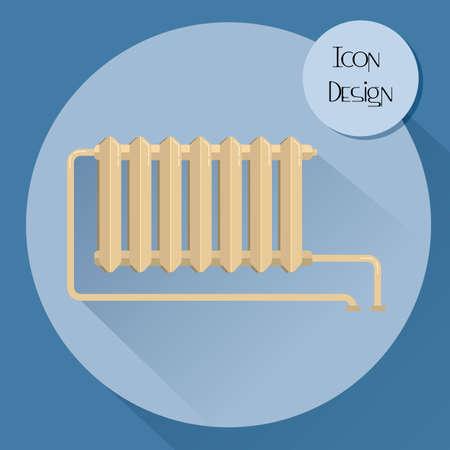 cast iron: Cast iron heating radiator. Design icons in flat style. Vector illustration.