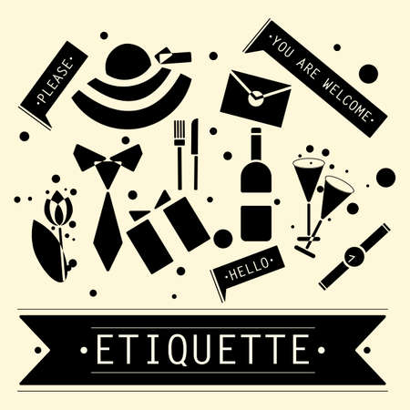 The elements of speech etiquette. Phrases in etiquette. Vector illustration. Illustration