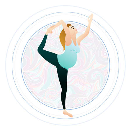 pregnancy yoga: Vector illustration of a pregnant woman doing pregnancy yoga poses on the pattern circle Illustration