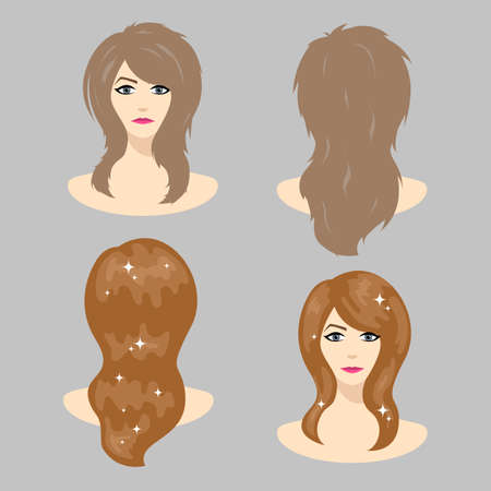 Hair care and coloring. Lamination of hair and shine after the treatment. Vector illustration.