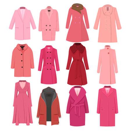 Set of pink autumn winter models female coat.