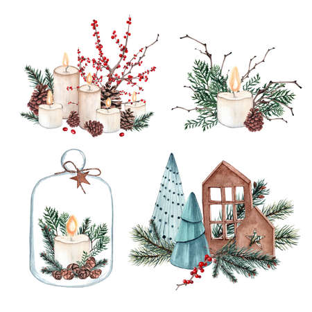 Watercolor Christmas composition.