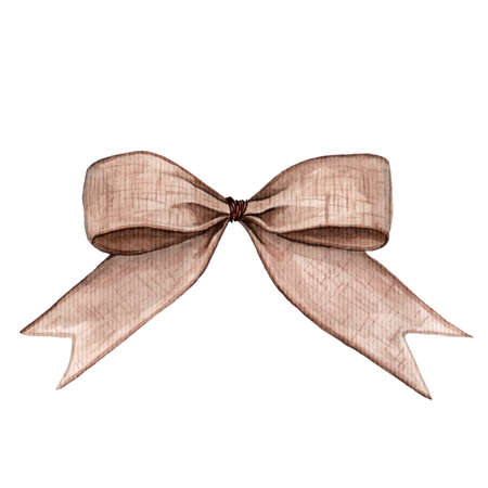 Gift sackcloth bow. Watercolor illustration