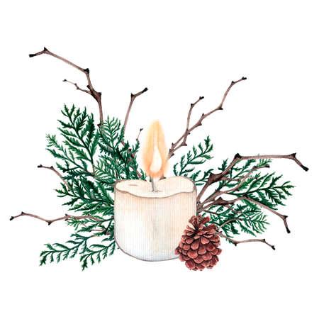 Acuarela composición de Navidad. Adornos de Navidad de velas, conos, pan de jengibre y varios elementos del año nuevo y Navidad Foto de archivo - 89222829