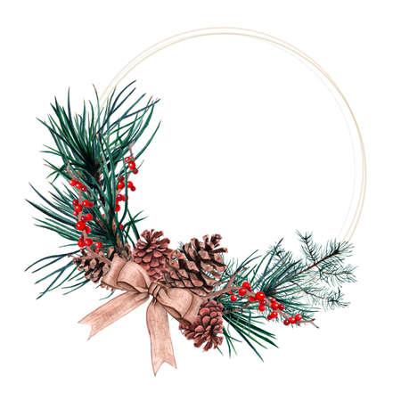 水彩画のクリスマスリース。お祝いの要素を持つクリスマスの飾り