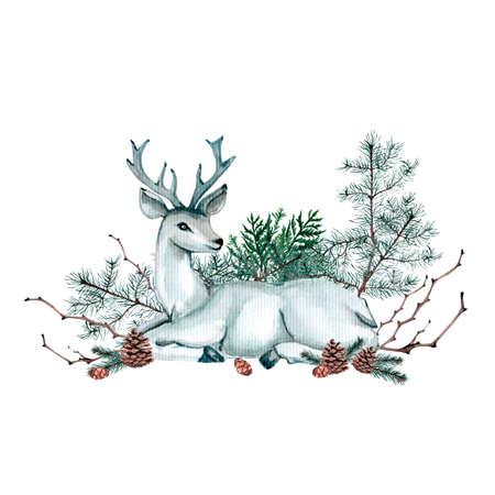 Acuarela composición de Navidad. Adornos de Navidad de velas, conos, pan de jengibre y varios elementos del año nuevo y Navidad