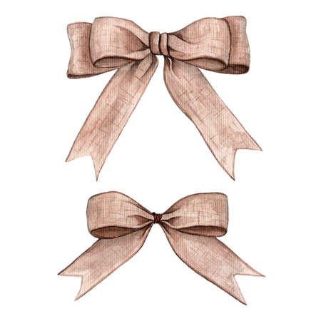 Set of bow from rope, ribbon watercolor illustration Stock Photo