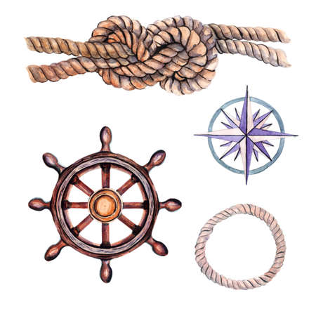 Marine set of elements for your design from the anchor, steering wheel and sea knots.