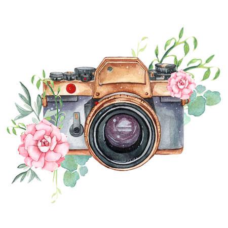 Vintage retro watercolor camera. Perfect for photography logo