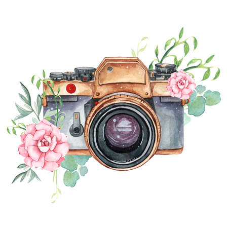 Vintage retro watercolor camera. Perfect for photography logo Stock Photo - 98221100
